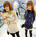 Clothes winter 2012 rabbit fur double breasted woolen outerwear women's medium-long wool coat