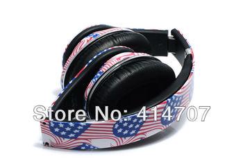 EMS Free Shipping! 1 piece High Rosolution Super Bass American Flag On-ear Headphone DJ Earphone New Fashion Design for PC