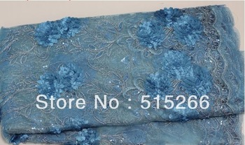 FREE SHIPPING! Fashion Mesh Dry Lace With Sequins of TKL7951turkey blue