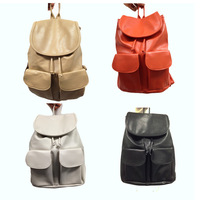 Free Shipping Wholesale Hot Sell 2012 Fashion Khaki/Black/Orange Korean Women&#39;s PU Leather Backpack Girls&#39; School Bags