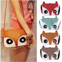 Womens Ladies Retro Shoulder Bag Messenger Handbags School Tote Owl Fox PU Purse[240133]