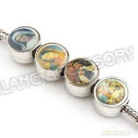 Hot  60pcs/lot Round Shape Enamel Beads with Portrait Mixed Color Zinc Alloy  Big Hole Bead Fit bracelet, necklace DIY 150045