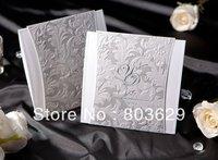 Gorgous Silver Embossed Folded Wedding Invitation (Set of 50) Printable and Customizable Wholesale Free Shipping