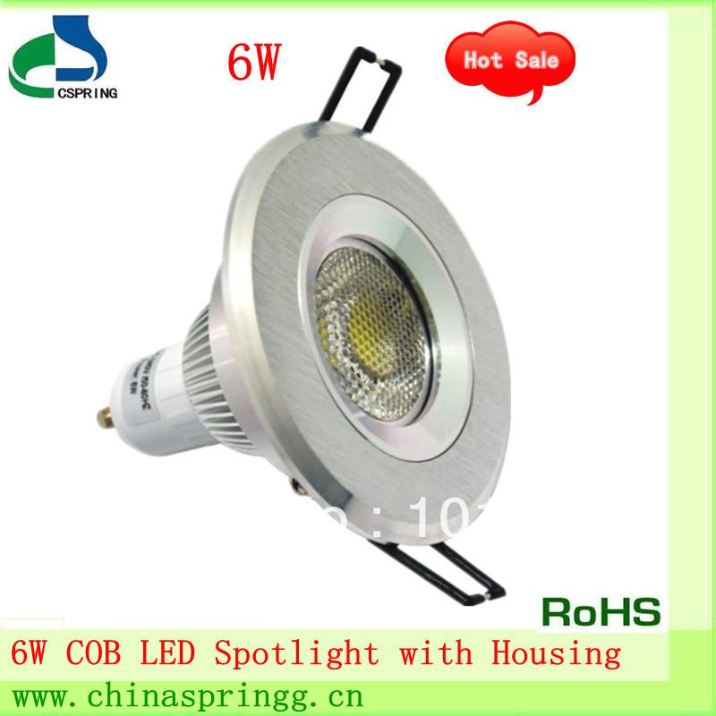 Wholesale 10pcs/lot New design E26/E27/GU20/GU5.3 base 6W COB led spotlight with housing, 37-42 degree(China (Mainland))
