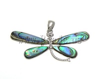 Free Shipping Abalone brass pendant, Animal, butterfly design, brass setting with abalone cabochon & rhinestone, Sold by Bag