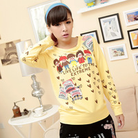 2012 autumn rough patches o-neck loop pile cotton sweatshirt outerwear