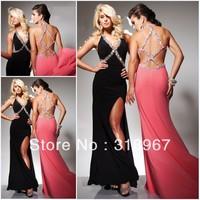 Free Shipping Sheath V-Neck Crystal Floor Length Chiffon Sexy Dress