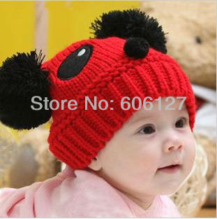 Big promotion ! NEW Panda shaped Lovely Boy girl Hats,winter baby hat,Knitted caps children Keep warm hat,Baby Cap 8 color gifts