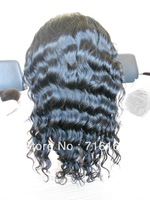 "18"" deep wave full lace wig 1b# natural black on sale"