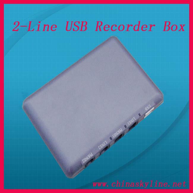 2 line usb call recorder box for call telephone recorder(China (Mainland))