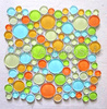 [Mius Art Mosaic] Glossy  white ,blue and orange color  mix crystal glass mosaic tile for kitchen backsplash MC011