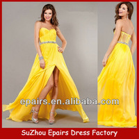LND12 Latest Long Yellow Beaded Waist See through Back Chiffon Prom Dresses