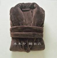 Coffee super soft coral fleece robe sleepwear bathrobe bathrobes male Women lounge chromophous ,Free shipping
