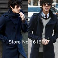 2012 new arrival men's winter wool coat medium-long trench male slim woolen outerwear overcoat men's clothing