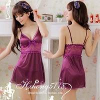 Sleepwear female nightgown viscose glossy suspender skirt lace sleep set lounge 2 ,Free shipping