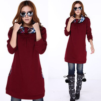 2013 winter plus size clothing pullover thickening fleece sweatshirt loose long design sweatshirt female 648