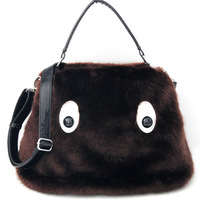 new arrival luxury   winter cute fur bag  monstercartoon bag  good for new year gift free shipping