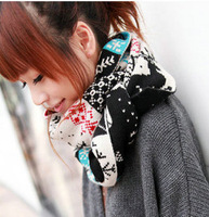 2012 Autumn and Winter the Christmas Deer Snowflakes sided imitation Cashmere Wool Knitted Scarf shawl