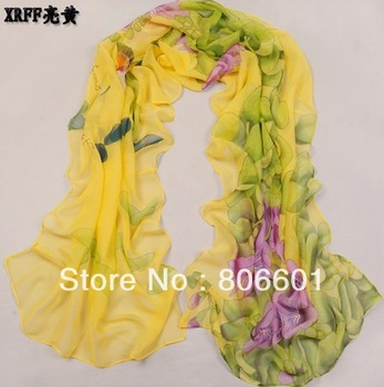 Free shipping Korean wrinkle scarf scarves all-match flower elegant long Wrap lady scarf shawl 8pcs/lots of colors