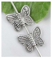 Free Ship 2000Pcs Tibetan Silver butterfly Spacer Beads 10.5x9mm