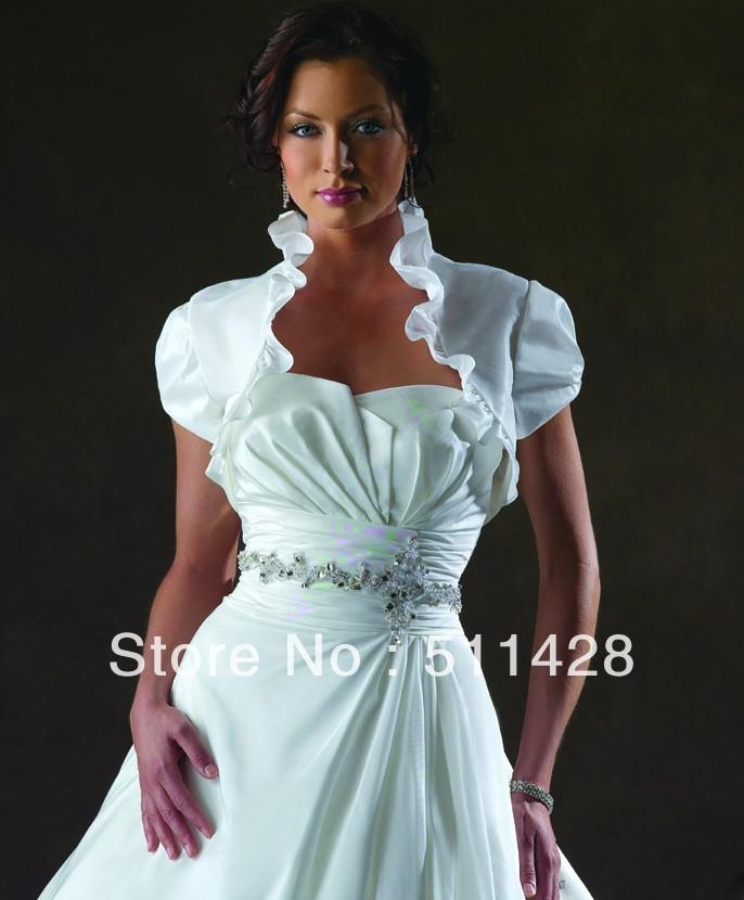 Free Shipping Ruched Neckline Short Taffeta Bolero Jacket For Wedding Dress In Wedding Dresses