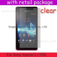 DHL free shipping 100x clear screen protector lcd film guard case For Sony Xperia V LT25i,with retail package