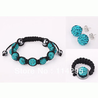 Mix Color Shamballa Wedding/Xmas/Birthday/Party Gift Jewelry Set Crystal Ball Bracelet+Earring+Ring Set Jewelry Free Shipping