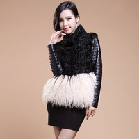genuine Leather coat 2012 fashion berber fleece coat   women's stand collar beach wool clothing TF0235