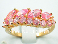 Free Shipping Wholesale and retail Sparkling Pink Ruby  Rings in 14 Kt Yellow Gilding Size #8
