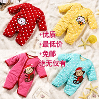 Baby clothes female baby bodysuit autumn and winter set baby wadded jacket newborn supplies romper cotton-padded jacket