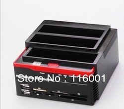 Multi-function HDD Docking three the SATA bit hard seat offline clone card reader + HUB HDD Enclosure(China (Mainland))