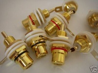 10 GOLD Amplifier Audio Terminal RCA CONNECTOR FEMALE CHASSIS Panel PCB Jack n