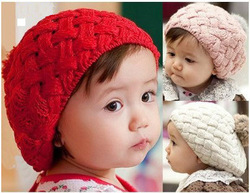 Hot Sale! Fashion Style Winter Warm Knitted Cotton Kids/Toddler/Childre/girls Beanie Caps & Hats, Free Shipping(China (Mainland))