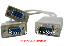 wholesale 20pcs/lot 1 PC TO 2 VGA SVGA MONITOR Y SPLITTER CABLE 15cm LEAD 15 PIN(China (Mainland))