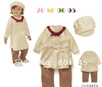 Spring Autumn girl romper long sleeve chef romper + chef's cap suit 100% cotton for 6M~4Y free shipping wholesale drop shipping