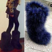 2012 brand high fashion desinger women genuine ostrich feather Eskimos Snow Boots/Long Furs Boots/Women's Tall/ Snow Boots