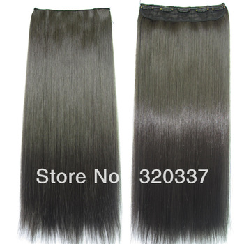 Direct Hair Factory Sale 5Clips-in Synthetic Clip in Hair extensions #4 Natural Black  Free Shipping With More Colors