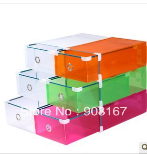 Super thick metal serging drawer shoebox suit shoe box transparent crystal shoe box