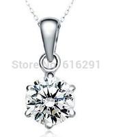 Simple exquisite high quality pendant-- classic 925 Silver Pendant women six claw zircon pendant