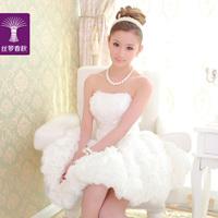 204 new sweet  bridesmaid white short design dress/party dress