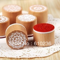free shipping Wooden vintage Antique round lace Stamps seal DIY diary carved gift decor craft scrapbook toy 6 design option(China (Mainland))