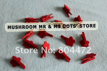 Wood Gifts Red Flower Photo Kids Lovely Small Clips Promotion Mini Wooden Pegs Wholesale + Free Shipping 300/Lot 1220
