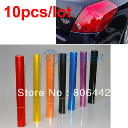 "10Pcs/Lot 12"" x 24"" Auto Car Sticker Smoke Fog Light HeadLight Taillight Tint Vinyl Film Sheet Free Shipping(China (Mainland))"