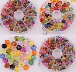 OMH wholesale free ship 200pcs Fashion Mixed Acrylic Faceted Crystal Charm Beads Jewelry(China (Mainland))