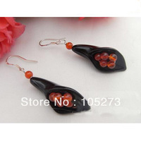 New Arriver Chirstmas Jewellery ! Charming AA 4-24MM Onyx Flower & Agate Earrings S925 Sterling Silver Hook New Free Shipping