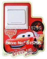 Free Express Car Cartoon Glow in Dark Light Switch Sticker 9x9cm Luminous Mural Wall Art Mixable Princess Mickey Minnie Kitty