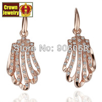 18KGP Jewelry 18K Gold Plated Earring Nickel Free Golden Plating Platinum Rhinestone Austrian Crystal SWA Element E067