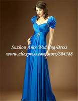 Fashion Elegant A Line Full Length Beaded Satin Blue Most Beautiful Prom Dress SI293 Short Sleeve