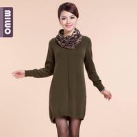 Autumn and winter heap turtleneck medium-long vintage sweater dress women's winter sweater