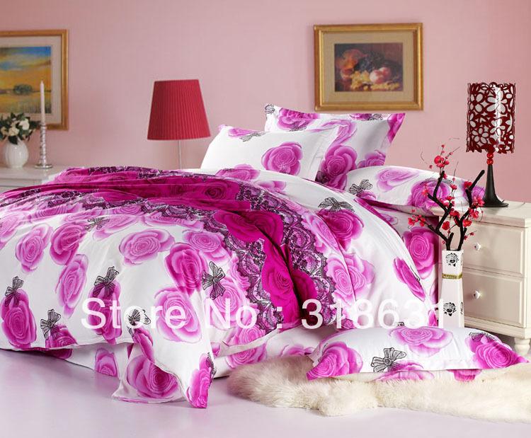 Rose Lavender And White Floral Duvet Comforter Cover Set Oxford Rose ...